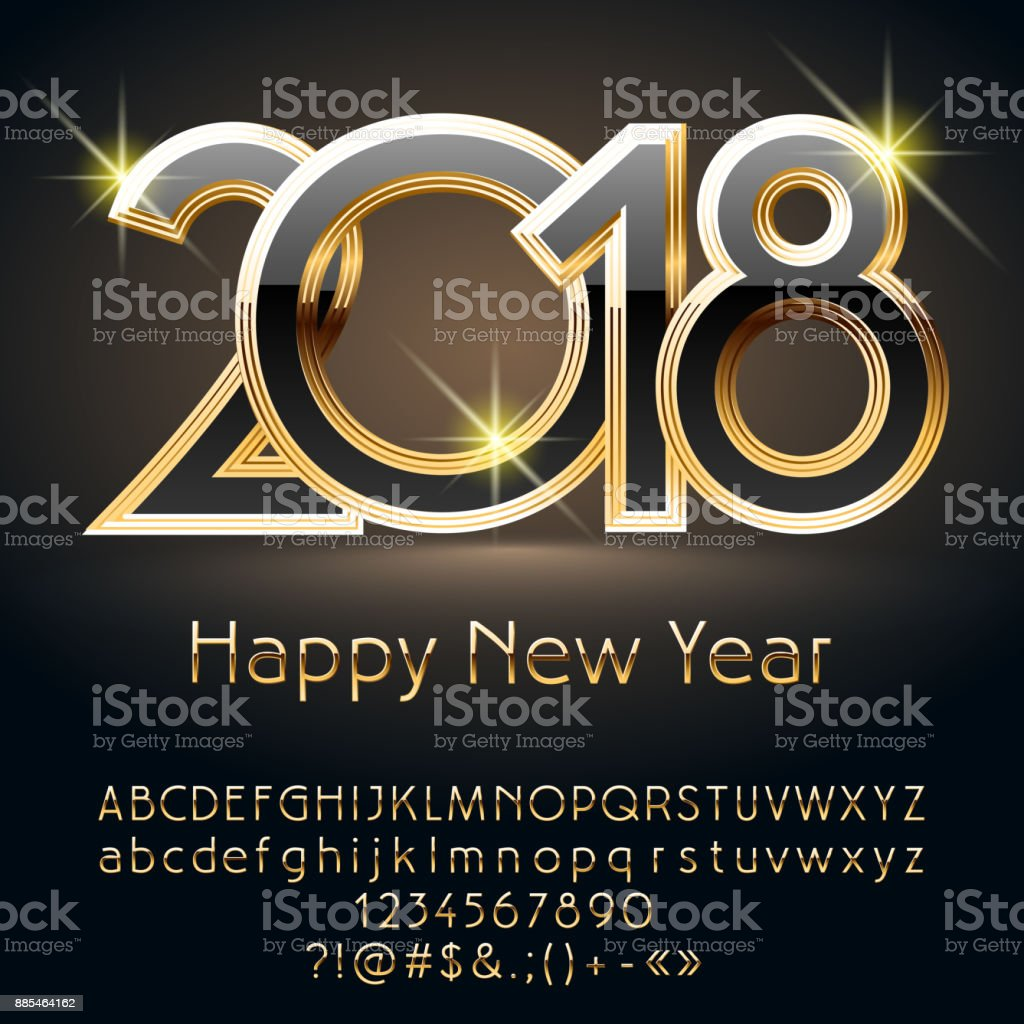 vector luxury black happy new year 2018 greeting card with alphabet royalty free vector luxury