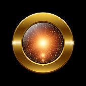 Vector sparkling golden glitter texture round button