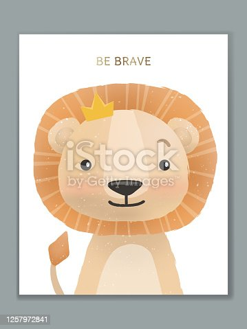 Vector Luxury Cartoon Animal Illustration Card Design for Birthday Celebration, Welcome, Event Invitation or Greeting. Lion King.