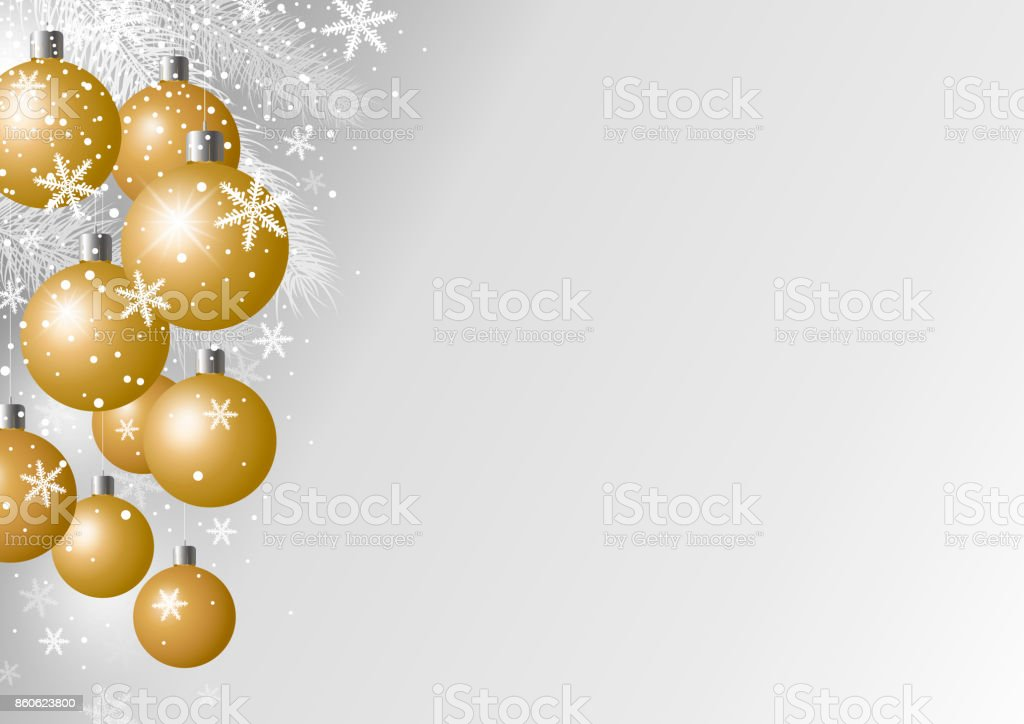 Christmas Graphics Background.Vector Luxury Christmas Background Design Of Gold Xmas Ball And Fir Branch With Snow Stock Illustration Download Image Now