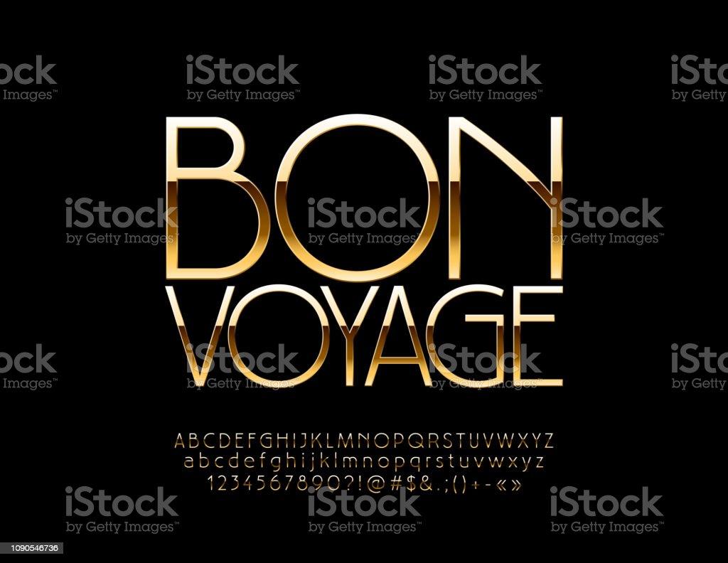 Emblème de luxe vecteur Bon Voyage avec Alphabet doré - Illustration vectorielle
