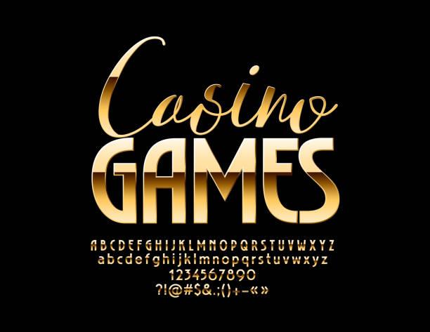 vector luxus emblem casinospiele mit goldenen alphabet - zahlenspiele stock-grafiken, -clipart, -cartoons und -symbole