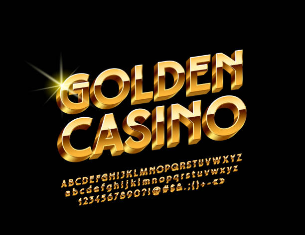 Vector Luxury Emblem Golden Casino with Chic 3D Alphabet Glossy bright Letters, Numbers and Symbols casino stock illustrations