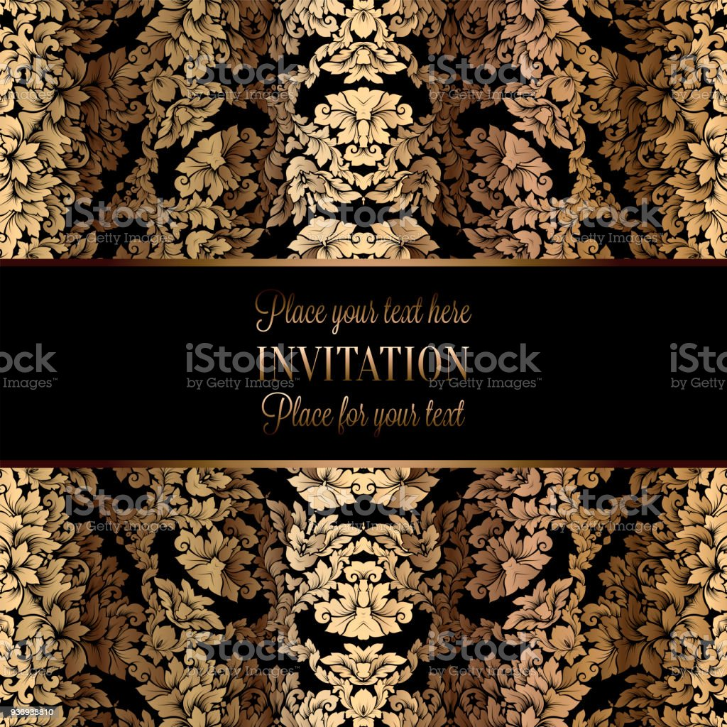 Vector luxury foliage with gold floral vintage pattern for banner vector luxury foliage with gold floral vintage pattern for banner wallpaper invitation card stopboris Images