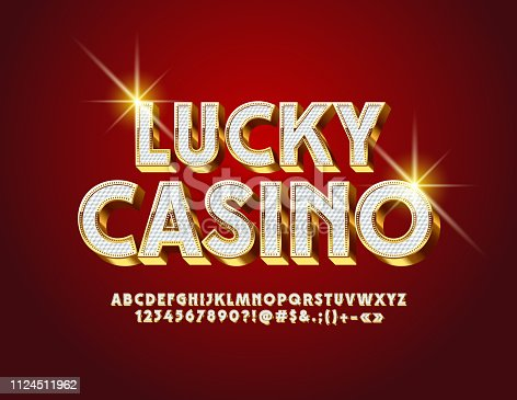 istock Vector luxury label Lucky Casino. Royal Alphabet Letters, Numbers and Symbols 1124511962