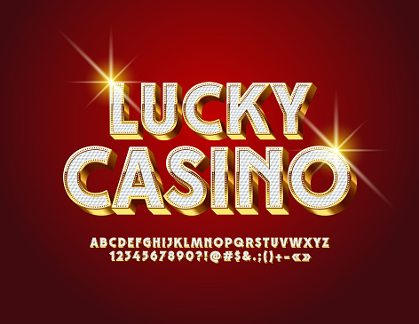 Vector luxury label Lucky Casino. Royal Alphabet Letters, Numbers and Symbols