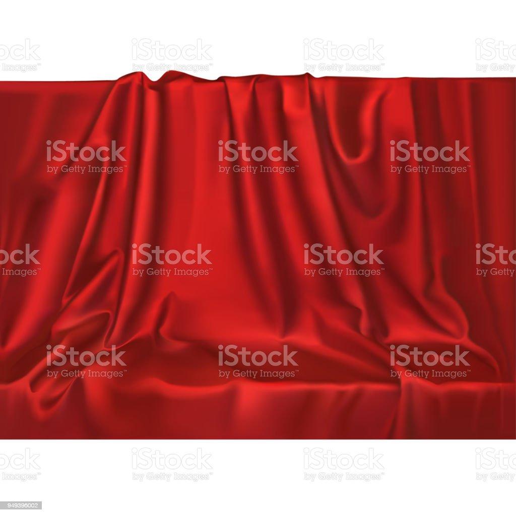 ベクトル高級リアルなシルクサテンのドレープ繊維の背景。エレガントなファブリックの波と光沢のある滑らかな素材。 ベクターアートイラスト
