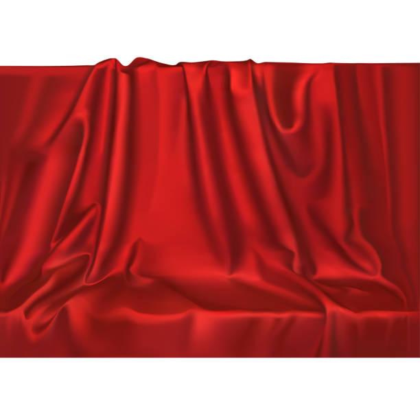 ベクトル高級リアルなシルクサテンのドレープ繊維の背景。エレガントなファブリックの波と光沢のある滑らかな素材。 - シルクのテクスチャ点のイラスト素材/クリップアート素材/マンガ素材/アイコン素材