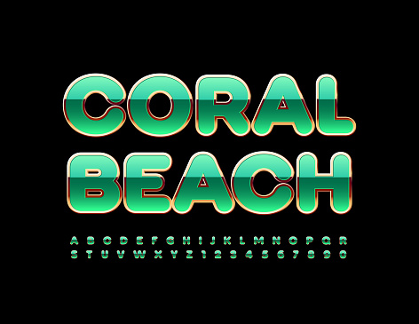 Vector luxury sign Coral Beach. Elite Alphabet Letters and Numbers set