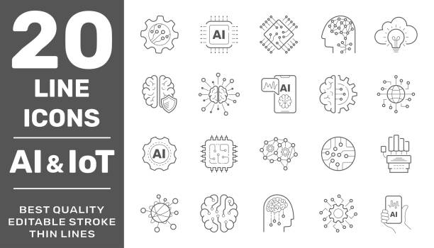 Vector machine learning thin outline icon set with AI, smart robotic and cloud computing network digital technology. Editable Stroke. EPS 10 vector art illustration