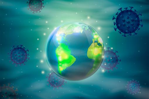 Vector macro abstract world around corona virus