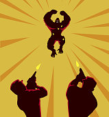 A silhouette style illustration of a mad gorilla attacking two soldiers.