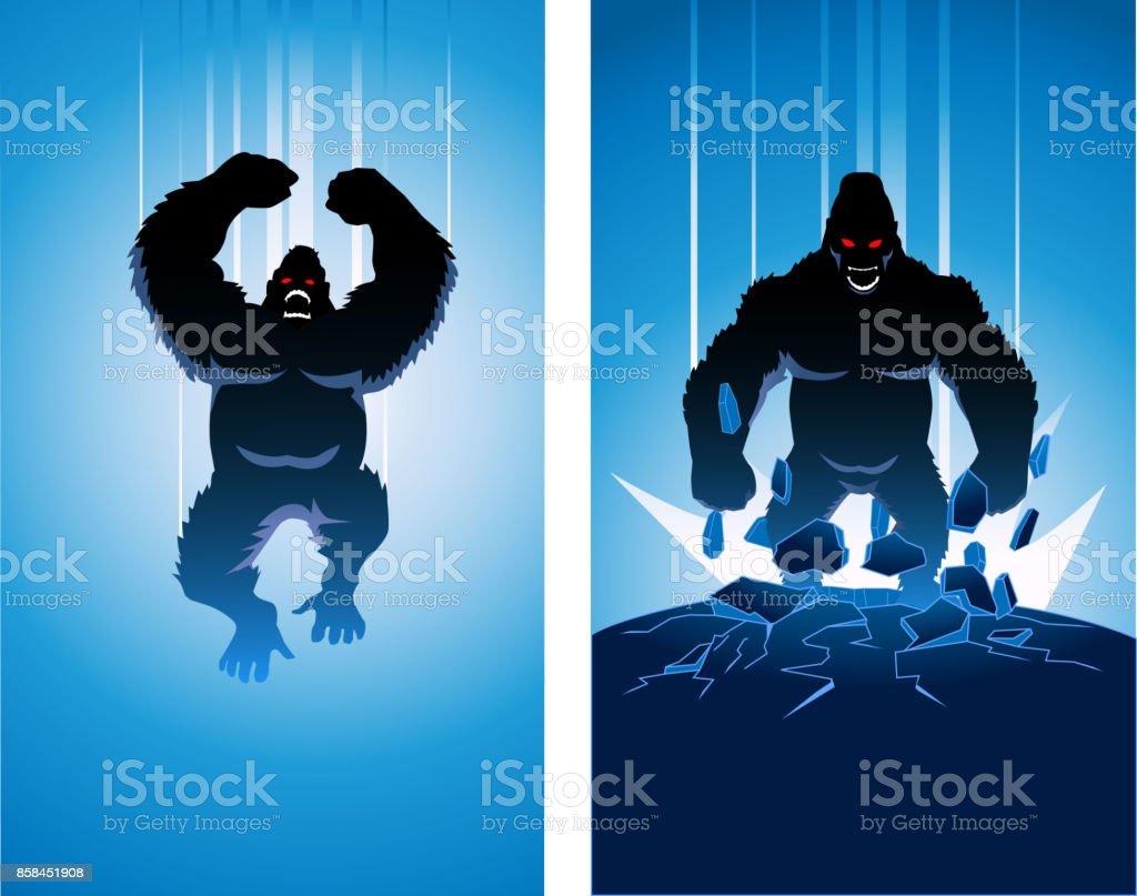 Vector silueta de Super villano de gorila enojado - ilustración de arte vectorial