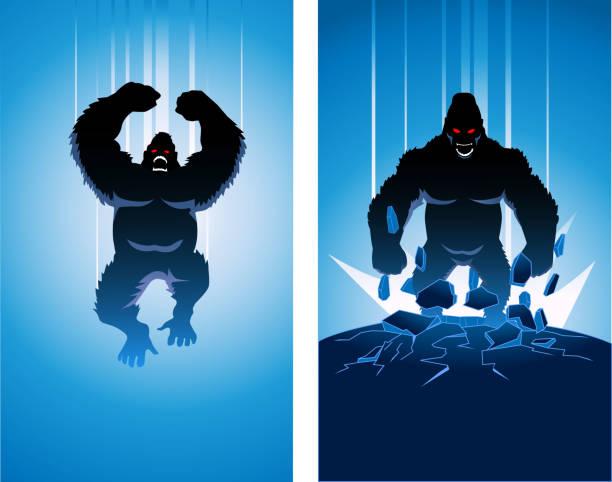 vektor verrückten gorilla super-bösewicht silhouette - gorilla stock-grafiken, -clipart, -cartoons und -symbole