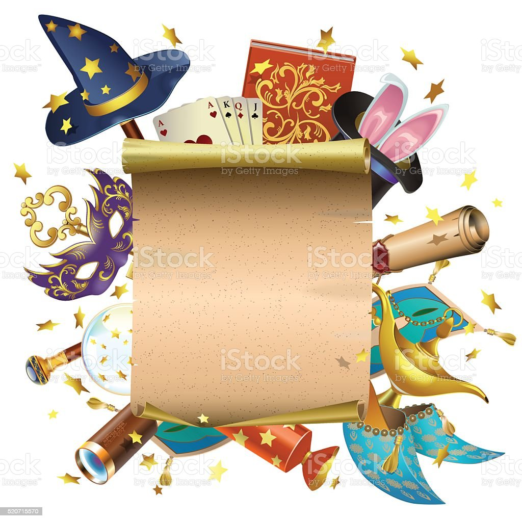 Vector Magic Concept with Scroll vector art illustration