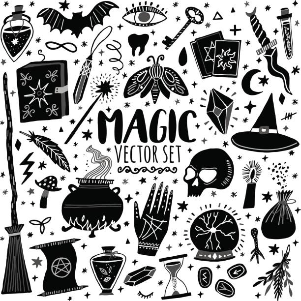 vector magic symbolsatz handgezeichneten doodle - magie stock-grafiken, -clipart, -cartoons und -symbole