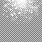 Vector magic white glow light effect isolated on transparent background. Christmas design element