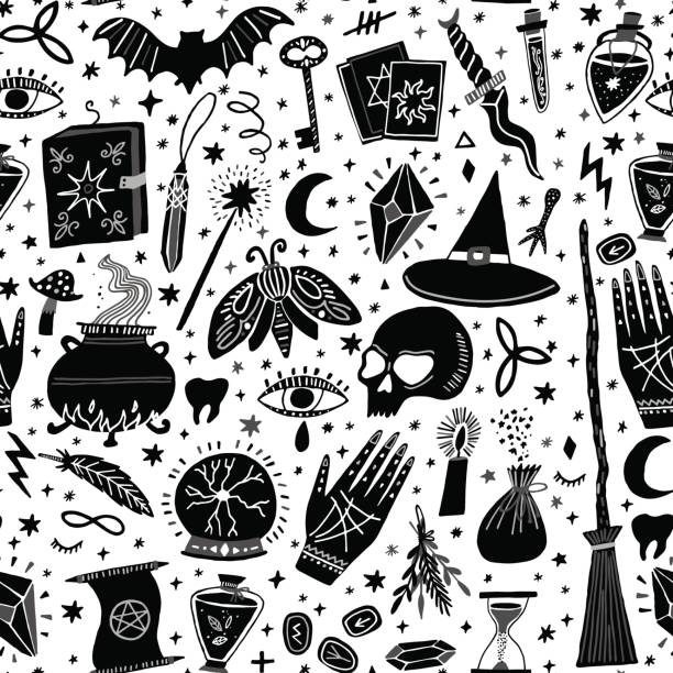 Vector magic witch seamless pattern. Witchcraft Vector magic witch seamless pattern. Witchcraft background voodoo stock illustrations