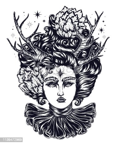 Vector magical forest fairy with curly hair with flowers. A fantastic goddess demon with horns of a deer, and ruffle collar. Linear decorated graphic. Mythological characters tattoo art, print t-shirt