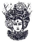 Vector magical forest fairy with curly hair with flowers. A fantastic goddess demon with horns of a deer, and ruffle collar. Linear decorated graphic. Mythological characters tattoo art,  t-shirt