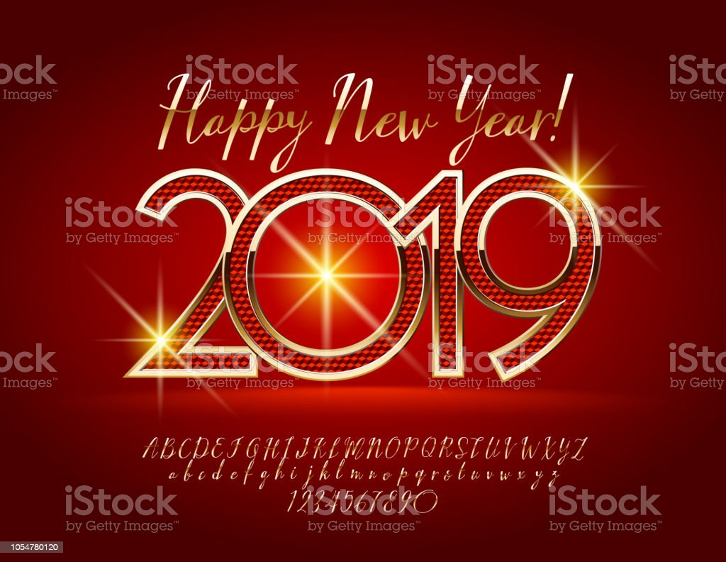 vector magical happy new year 2019 greeting card with alphabet royalty free vector magical happy