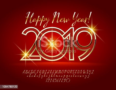 vector magical happy new year 2019 greeting card with alphabet stock vector art more images of 2019 1054780120 istock