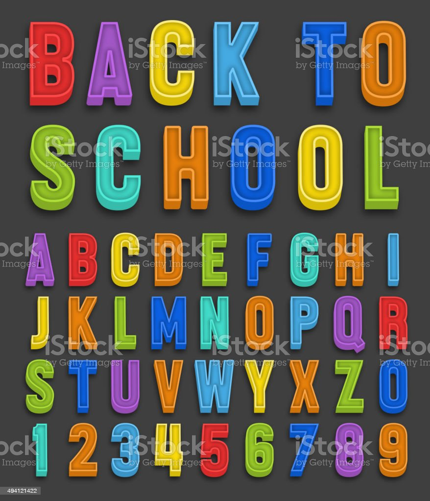 Vector magnets alphabet numbers font vector art illustration