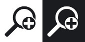 Vector magnifier icon with plus sign. Two-tone version