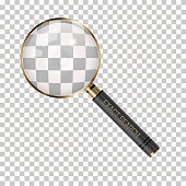 Vector Magnifier on a Transparent Background. Magnifying Glass Icon. Search, Research, Detective or Investigation Icon