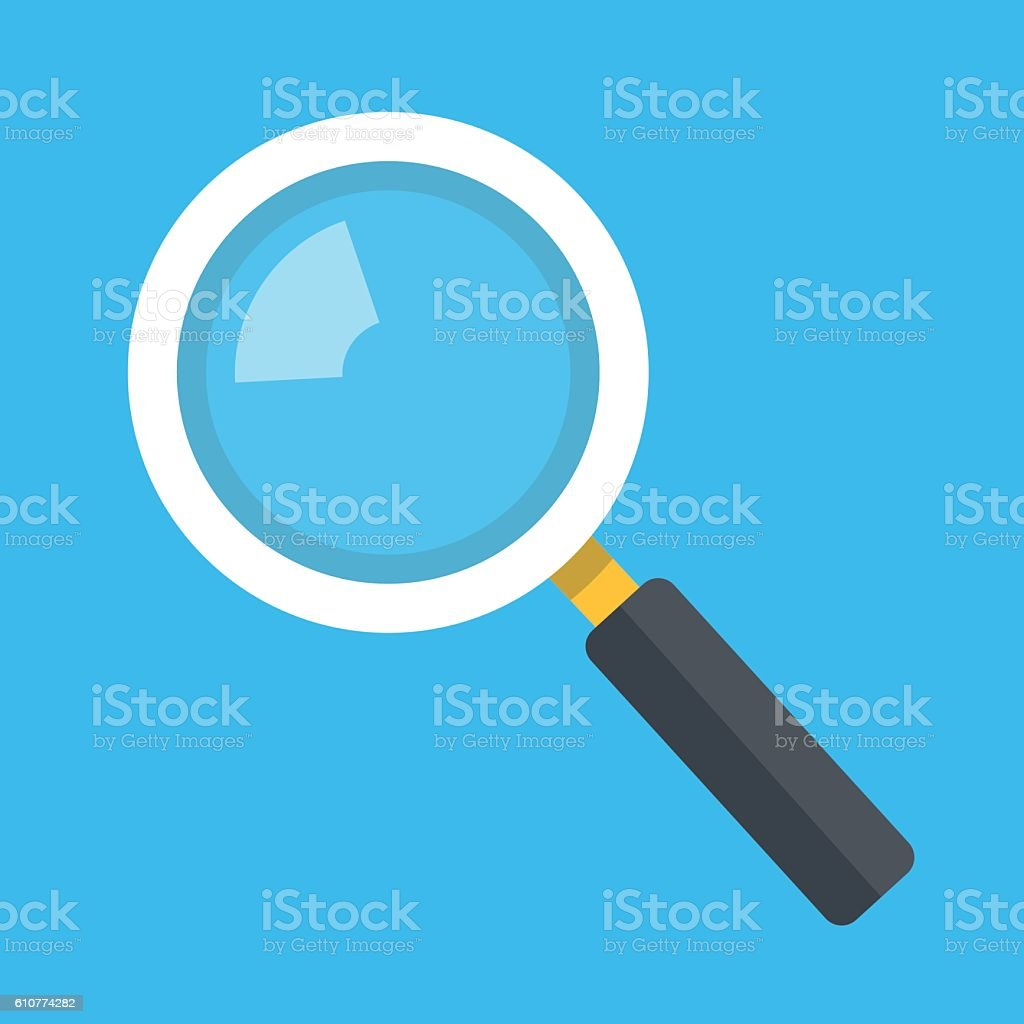 Vector magnifying glass icon isolated on blue background vector art illustration