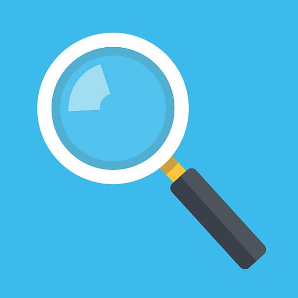 vector magnifying glass icon isolated on blue background - предельно крупный план stock illustrations