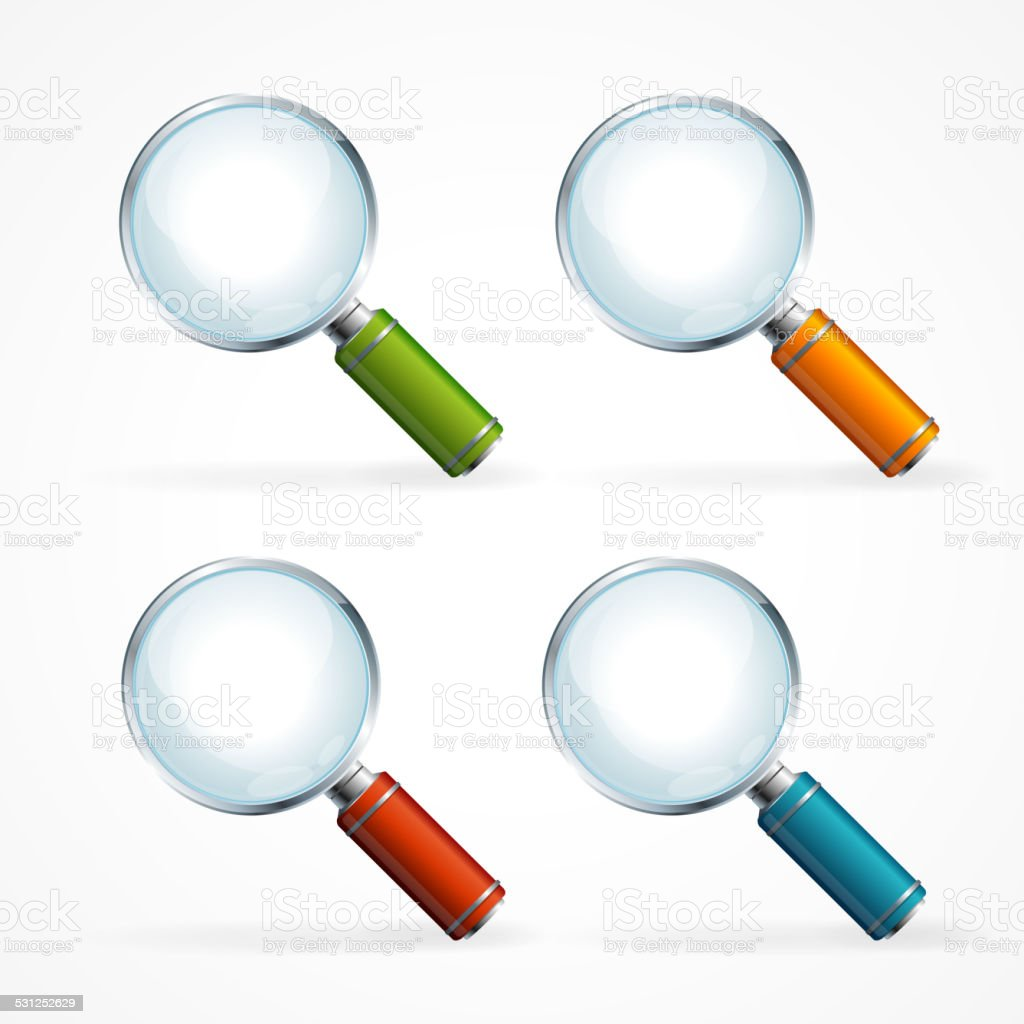 Vector magnifying glass icon set vector art illustration