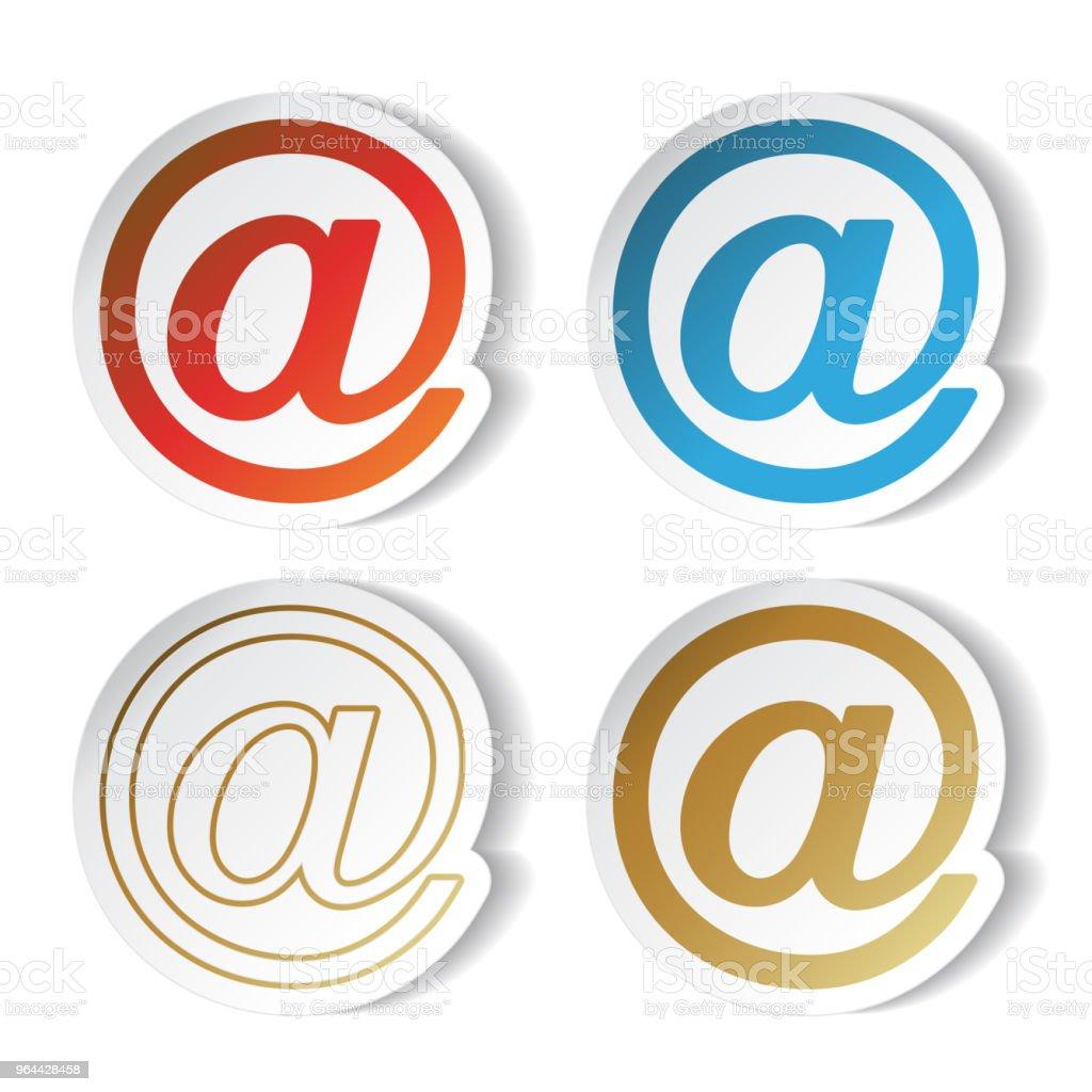 Vector símbolos de correio, adesivos, em - Vetor de Azul royalty-free