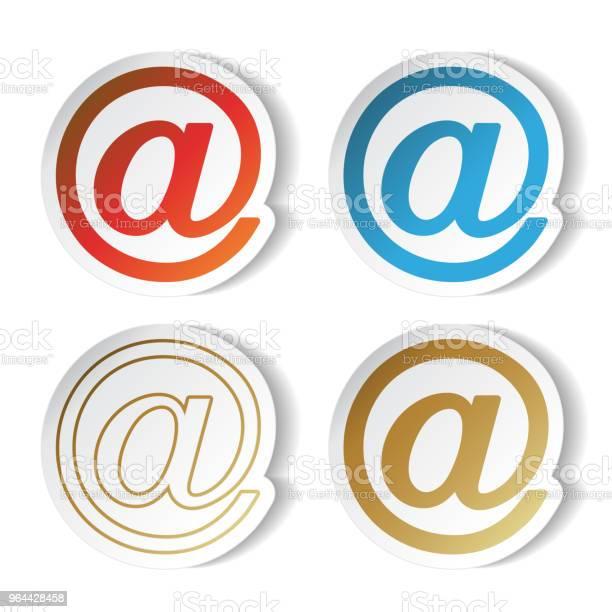 Vetores de Vector Símbolos De Correio Adesivos Em e mais imagens de Azul