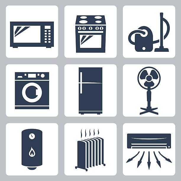 Vector major appliances icons set vector art illustration