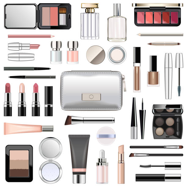 Vector Make-up Kosmetik mit Silber Kosmetiktasche – Vektorgrafik
