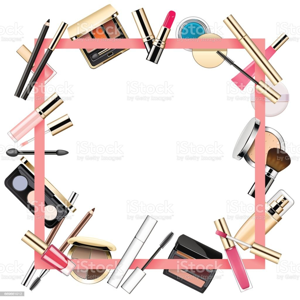 Beauty In Frame: Vector Makeup Frame Stock Vector Art & More Images Of