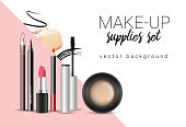 Vector make-up themed poster template with cosmetic supplies and stains and smears with space for your text