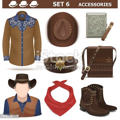 Vector cowboy style of male accessories, including hat, shoes, shirt, belt,  shoulder bag and cigarette case, isolated on white background
