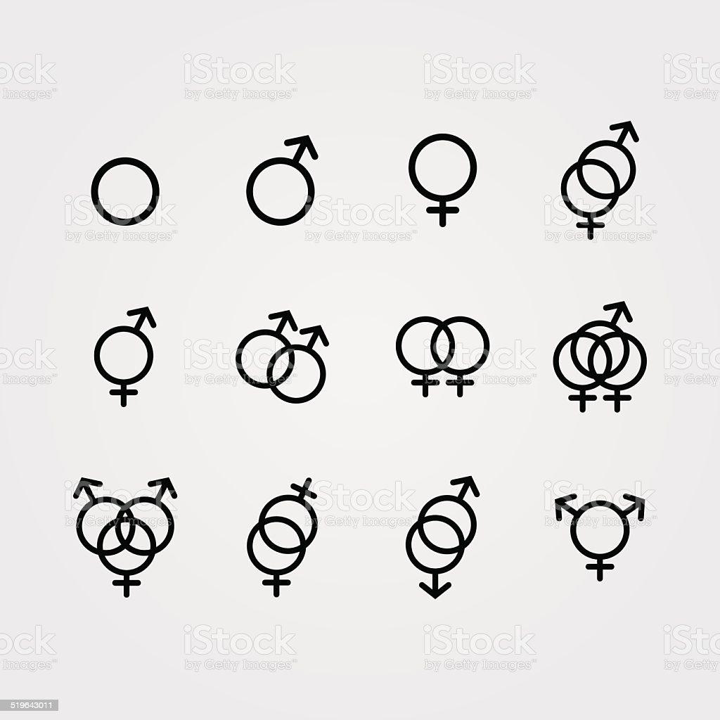 Vektor Männliche Und Weibliche Symbole Sexuelle Orientierung Stock ...