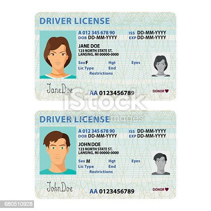 istock Vector man and woman driver license plastic card template 680510928