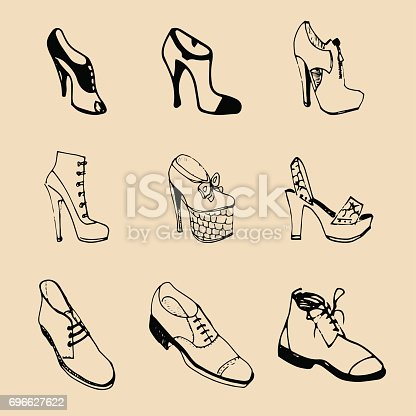 Vector man and woman shoes set. Footwear collection in sketch style