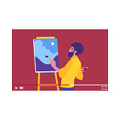 Vector man artist making tutorial for vlog audience. Live stream painting. Male blogger produces video content for creative people. Drawing lesson video in mobile screen. Isolated illustration