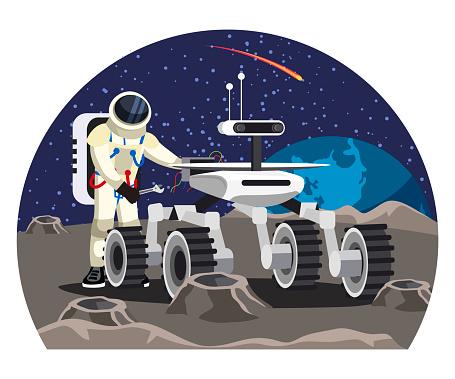 Vector man astronaut repairing moon rover car