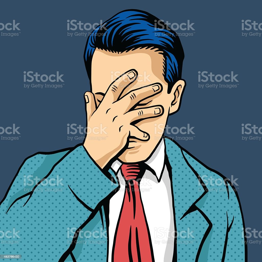 Vector Man Facepalm Comic Illustration Stock Illustration