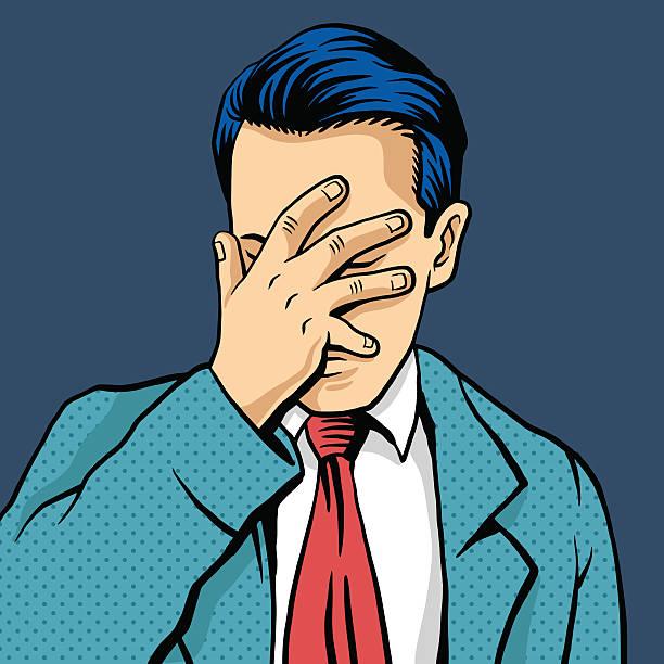 ilustrações de stock, clip art, desenhos animados e ícones de homem mão na cara ilustração de banda desenhada vector - deceção