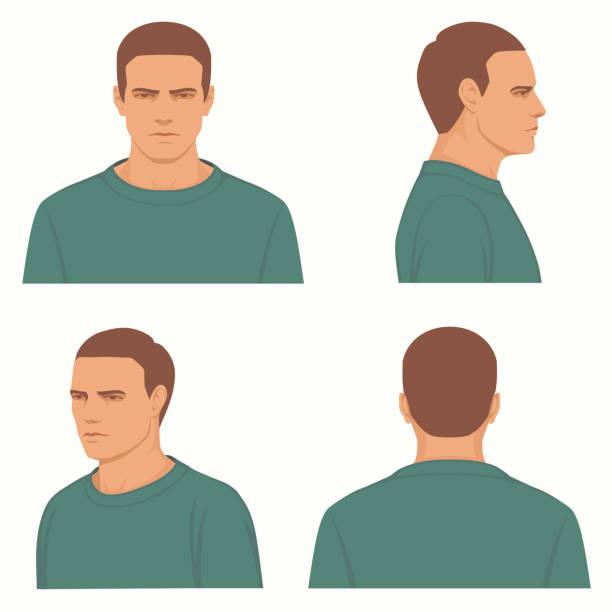 Vektor, Mann, Front, Seite, Höhenplan des Kopfes – Vektorgrafik