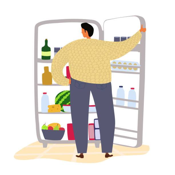 Vector man looking at fridge with eat. Food choice illustration Vector man looking at fridge with eat. Food choice illustration refrigerator stock illustrations