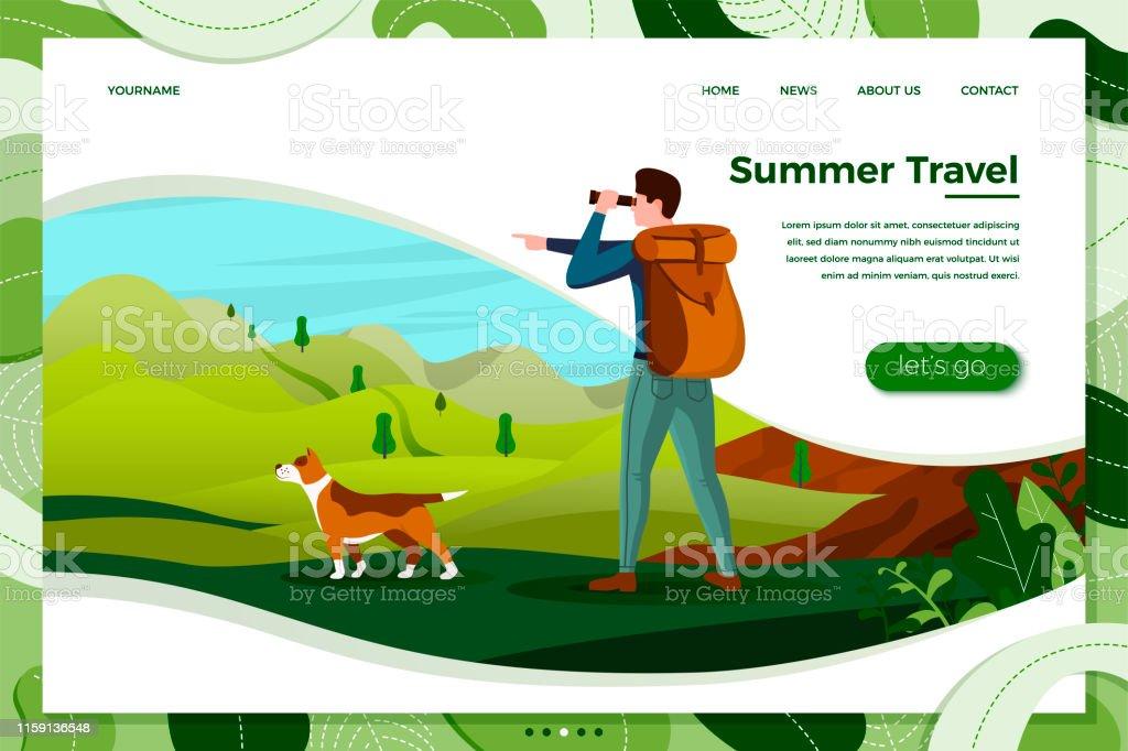 Ilustración de Vector Hombre Viajar Con Perro Buscando En