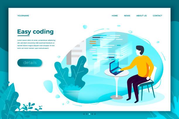 vektor-mann mit notebook, einfache arbeit mit code - computergrundlagen stock-grafiken, -clipart, -cartoons und -symbole